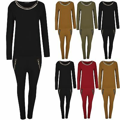 Ladies Round Neck Gold Chain Top Lounge Womens Gymming Tracksuit Trouser Jogger