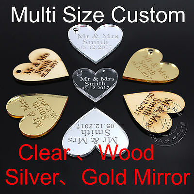 50 Multi Size Custom Personalized Engraved Love Heart Table Decor Wedding Favors