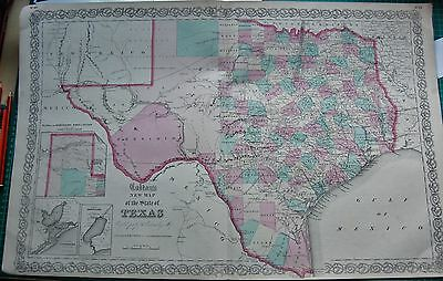 1855 Large Antique Map-Colton- New Map Of The State Of Texas