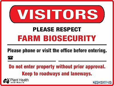 Farm Biosecurity Safety Sign --  600 X 450Mm  --  Colorbond /  Metal Sign