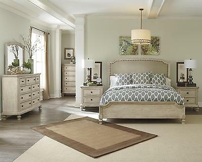 Ashley Demarlos B693 King Size Panel Bedroom Set 6pcs in Parchment White Casual