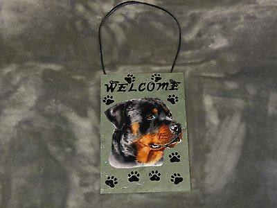 Hand Made Slate Rottweiler Welcome Sign 5 1/2 Inch X 8 1/2 Inch