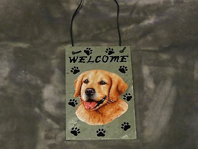 Hand Made Slate Golden Retriever Welcome Sign 5 1/2 Inch X 8 1/2 Inch
