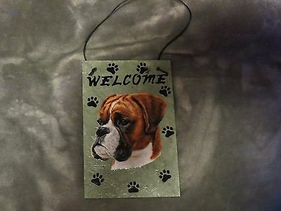 Hand Made Slate Boxer Welcome Sign 5 1/2 Inch X 8 1/2 Inch