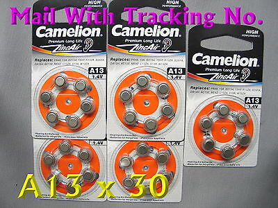 30 CAMELION A13 13A PR48 Hearing Aid 1.4V Zinc Air Battery Expire 2020 W/TrackNo