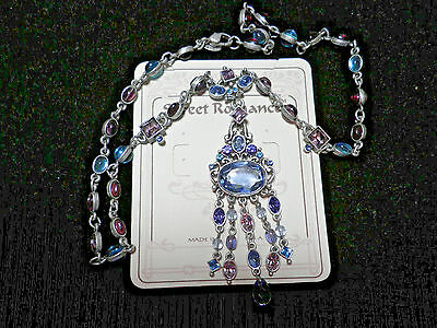 Retired Vintage Blue Waterfall Necklace Sweet Romance Incurable Romantic N6701