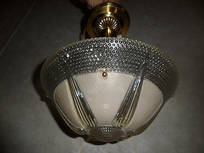 Vintage Clear And Frosted Glass Semi-Flush Hanging Light Fixture Circa 1930