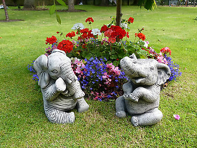 Pair Of Large Elephants Statue Garden Ornament Stone Handmade Gift Modern Art