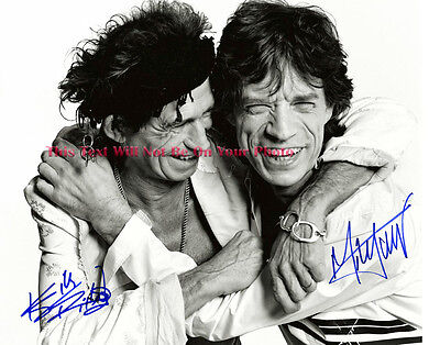 Mick Jagger Keith Richards The Rolling Stones Hugging Signed 11x14 Preprint Phot