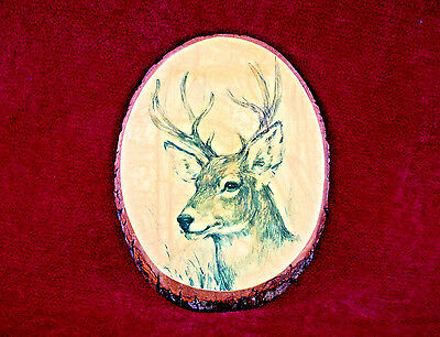 Rustic Hunting Deer Buck Picture On Real Wood Wall Hanging Plaque Vintage 1981