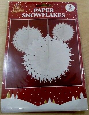 3 Christmas Ceiling Hanging White Xmas Paper Winter Snowflake Decorations