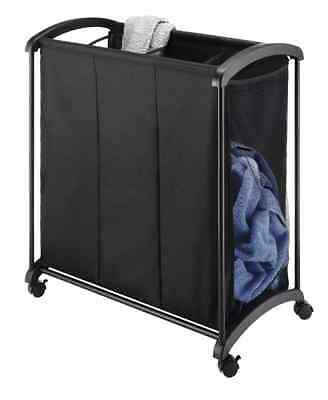 Rolling 3-Section Laundry Sorter Storage Organizer Cart Clothes Basket Black