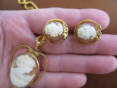 Art Decoo Gold Filled Cameo Locket Necklace and Cameo GF Earrings Set