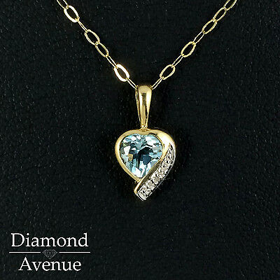 9ct Yellow Gold Aquamarine and Diamond Heart Pendant Necklace ~ GN03