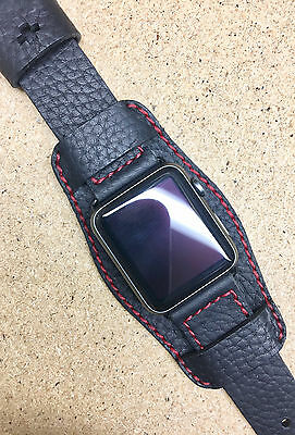 Black Lychee Leather Cuff Watch Strap Band for Apple Watch 42mm Series 1 & 2