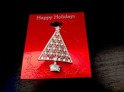 Christmas Tree Silver Tone With Rhinestones Pin Brooch NEW on Card  MINT