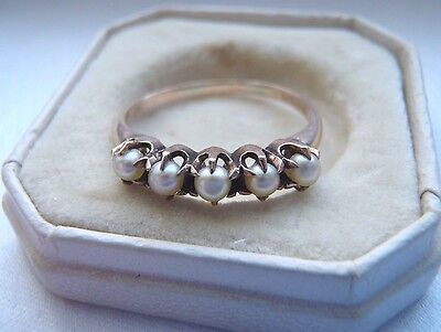 Ultra Rare Antique Ostby Barton 10K Rose Gold Pearl Ring In It's Original Box!