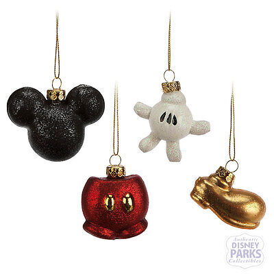 Disney Parks Mickey Mouse Icon Glass Ornament Set -Best of Mickey Collection