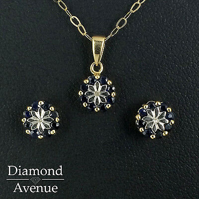 9ct Yellow Gold Sapphire and Diamond Star Pendant and Earrings Set