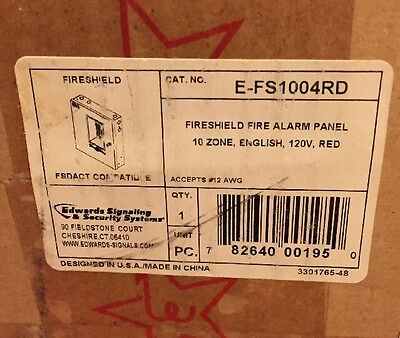 Edwards E-FS1004RD FireShield 10 Zone Fire Alarm Panel WITH FSDACT 120V NEW RED.