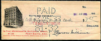 1933 Fort Smith Arkansas - The Merchants National Bank Check