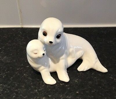 Royal Osbourne Bone China Malaysia TMR-5598. SEAL AND PUP. 3 INCHES BY 4.