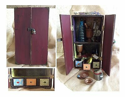 Apothecary & Herb Storage Cabinet Red Hand Made in Appalacia