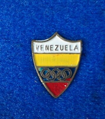 Vintage 1960's ? Venezuela Flag  Shield National Olympic Committee NOC Lapel Pin