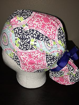 Women's Paisley pink, blue and green ponytail scrub cap