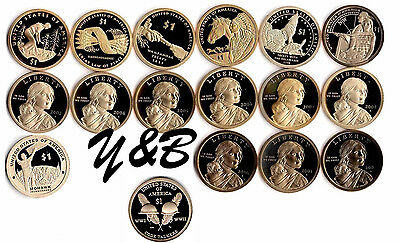 2000 to 2016 S Native American Sacagawea Proof Dollar Run 17 Coin Complete Set