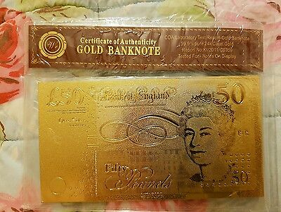 EXCLUSIVE!! NEW 99.9% Pure GOLD Plated £50 UK British Note! WOW! Xmas Gift!
