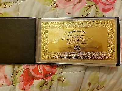 EXCLUSIVE! 24k 99.9% Pure GOLD US Dollar Banknote Collection in Album! Gift