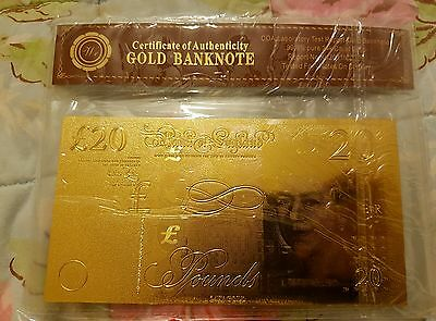 EXCLUSIVE!! NEW 99.9% Pure GOLD Plated £20 UK British Note! WOW! Xmas Gift!