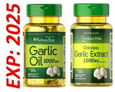 Garlic Oil 1+1 Odorless Garlic 1000mg antioxidant Cholesterol Health 2 X 100=200