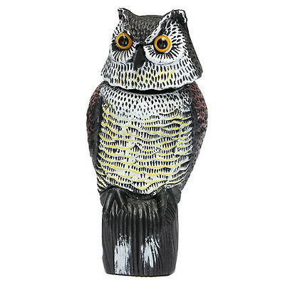 Large Realistic Owl Decoy Rotating Head Weed Pest Control Crow Scarecrow ED
