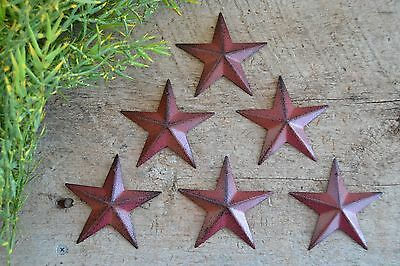 "SET of 6 ~ 3 1/2""  BURGUNDY BLACK BARN STARS Metal Tin Primitive Country 3.5"""