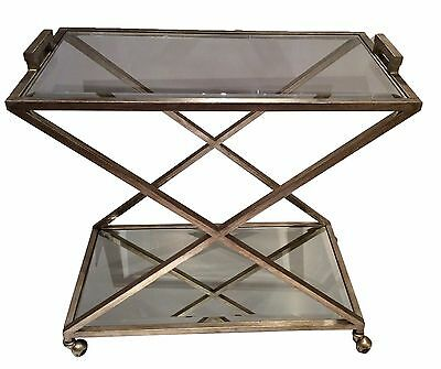X Shape Antique Silver Finish Iron Bar Cart Kitchen & Dining Furniture,34''L