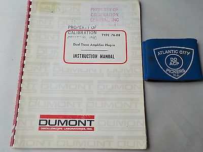 Dumont Type 76-08 Dual Trace Amplifier Plug In Instruction Manual