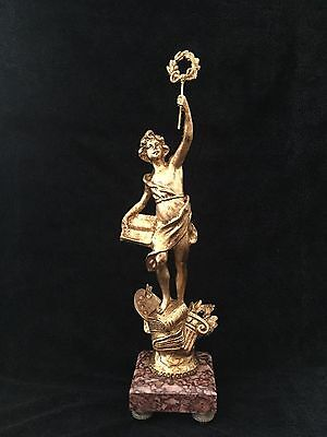 Stunning antique spelter Gold Gilded statue of Lady Victory on marble base ,48c