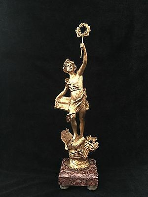 Stunning antique spelter statue of Lady Victory on marbule base , 48 cm height
