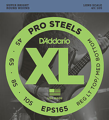 D'ADDARIO EPS165 PROSTEELS STAINLESS STEEL BASS STRINGS - Medium 4's  45-105