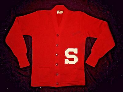 Vintage 1940's-50's Stanford Varsity Letterman Cardigan Sweater by Whiting