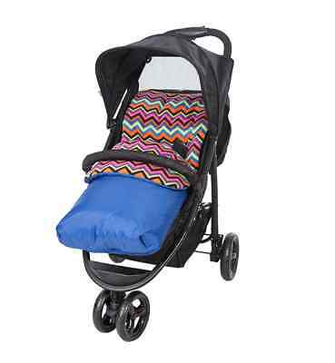 Baby Pushchair/Stroller 2 way Universal Cosytoes Fleece Pad Footmuff Liner Blue