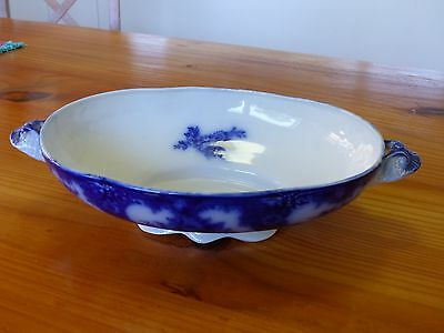 """Antique 12"""" """"Lois Flow Blue"""" oval scalloped serving bowl with handles"""