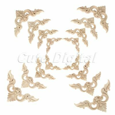 Wood Carved Decal Corner Onlay Applique Unpainted for Doors Cabinets Furniture