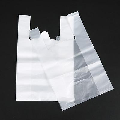 50Pcs Large White Plastic Vest Style Carrier Shopping Carry Bags Strong Durable