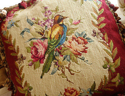 Vintage Red Beige Hand Crafted Wool Needlepoint Pillow Splendid Bird & Flowers