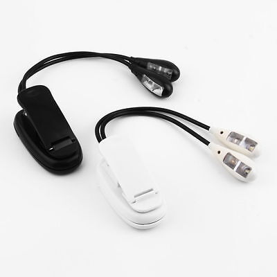 White 2 Dual Flexible Arms 4 LED Clip-on Light Lamp for Piano Music Stand BookUB