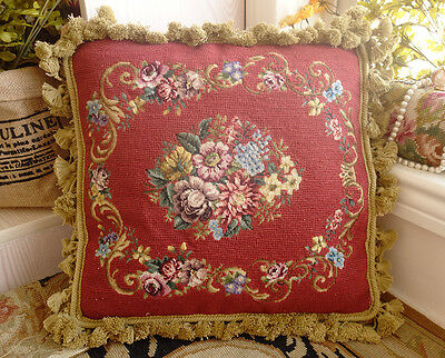Finished Handmade Vintage Antique Needlepoint 20K Petit Point Pillow Sham