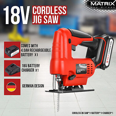 Matrix 18V Cordless Jigsaw Power Tool 4.0Ah Lithium Rechargeable Battery Charger